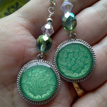 Shimmery Green Accented Antiqued Silver Beaded Dangle Earrings