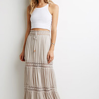Crochet-Paneled Crepe Maxi Skirt
