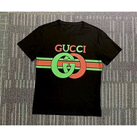 GUCCI Tide brand red and green striped double G printing round neck half sleeve T-shirt Black