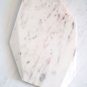Marble Cheese Board - Modern Geometric Cutting Surface Size Large