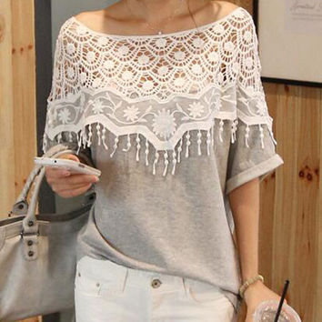 Sweet Lace Crochet Hollow Stitching Shawl Collar Bat Short Sleeve T-shirt