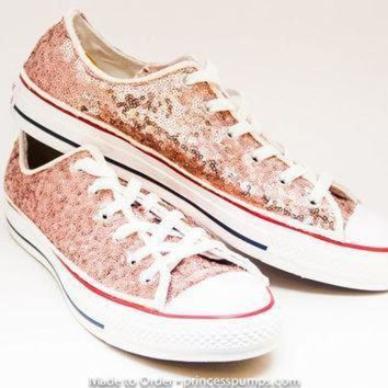 55b9cd4dd583ea CREYON sequin rose gold canvas converse canvas low top sneakers