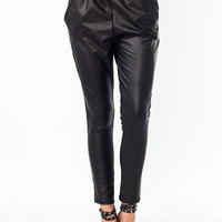 Pick-Pockets-Faux-Leather-Pants BLACK TAUPE WINE - GoJane.com