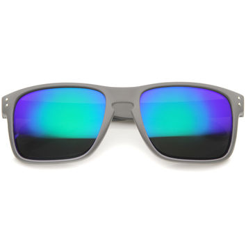 Men's Action Sports Rectangle Mirror Lens Aviator Sunglasses A398