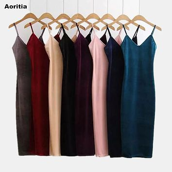 2017 Women Spring Brief Style Velvet Slip Dress Side Vent Full Dress Suspender Strap Sexy One Piece Velvet Dress