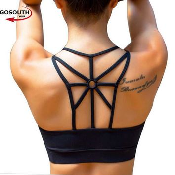 Women  Push Up Sexy Sports  Bra Cropped Crop Top Cross Wide Elastic Straps Fitness Yoga Bra  Running Workout  clothes G-331
