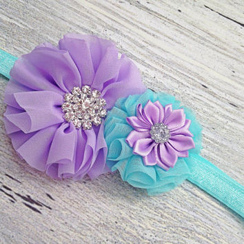 Aqua and Lavender Headband, Girl Accessories, Sparkly Headband, Large Baby Headband, Elegant Headband, Birthday Girl Headband