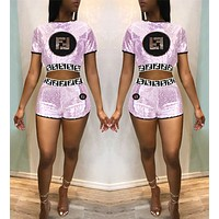 FENDI Summer Hot Sale Women Sequin Short Sleeve Top Shorts Set Two-Piece Pink