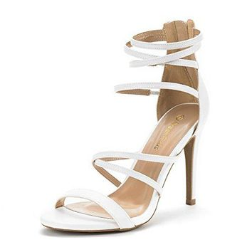 Women's Gladiator High Heel Sandals New Strappy Back Zipper Pump Wedding Sandals