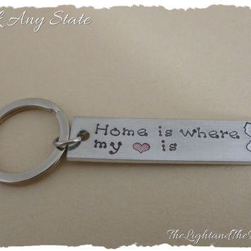 Personalized Hand Stamped Key Chain - Choose your State - Home - USA - Unisex - Gift for him Gift for her