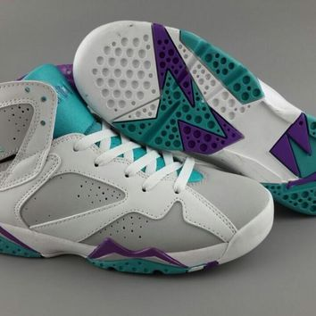 Air Jordan 7 Retro Women Basketball Sneaker White/Gray/Purple