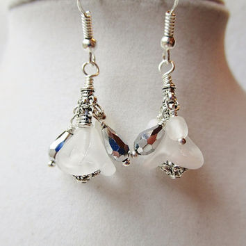 Opaque White Flower Cluster Earrings with Silver Crystal Drops and Faceted Opaque Czech Glass dangles