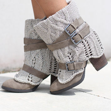 Sweat Me Taupe Booties