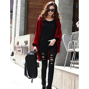 Women's Batwing Sleeve Plus Size Loose Knitwear Cape