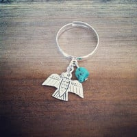 Silver adjustable Ring with tiny Turquoise bead and silver Thunderbird native Dangle charm Bohemian Hippie Gypsy Southwestern Cowgirl