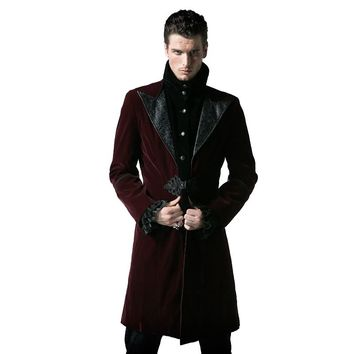 Gothic Court Fashion Men's Long Duster Coat Steampunk Autumn Winter High Collar Corduroy Jacket Thick Windbreakers