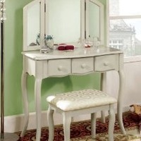 Furniture of America Fairfield Classic Style Vanity and Stool Set, Cream White
