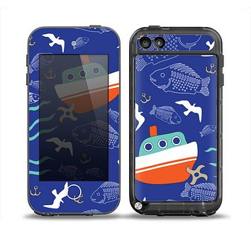 The Blue Vector Fish and Boat Pattern Skin for the iPod Touch 5th Generation frē LifeProof Case