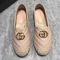GUCCI Classic Popular Women Casual Leather Fisherman Shoes Apricot