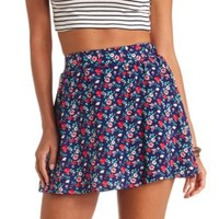 Floral Print High-Waisted Skater Skirt by Charlotte Russe - Navy Blue