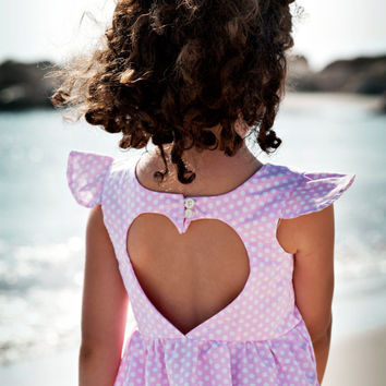 Pink and white Polka Dot heart cut out Dress