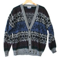 Vintage 80s Nordic Snowflake Cosby Cardigan Ugly Sweater