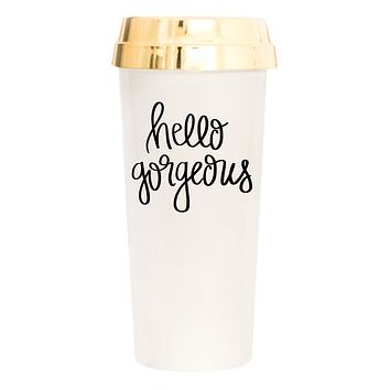 Hello Gorgeous Travel Mug in Cream with Gold Lid