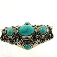 Vintage Indian Turkish Silver Custom Carving Antique Persian Turquoise Stone Ring Boho Jewelry Ethnic Native American