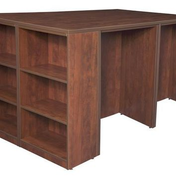 Legacy Stand Up 2 Desk/ Storage Cabinet/ Lateral File Quad with Bookcase End- Cherry
