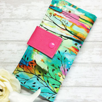 Watercolor print wallet, Womans wallet, slim bifold wallet, clutch wallet, handmade fabric wallet, credit card money wallet