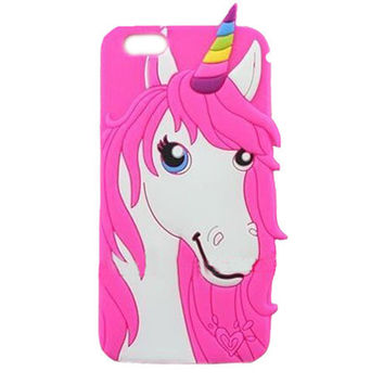 Magic Pink Unicorn Soft 3D Case for iPhone