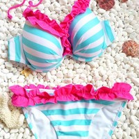 Sexy Blue and White Stripes Bikini | best shopping mall-fashion accessories and fashion clothing