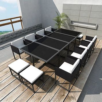 Outdoor Dining Set 33 Pieces Poly Rattan Black
