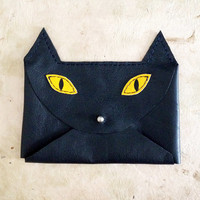 Handmade Leather navy blue and yellow envelope style cat wallet with silver hardware