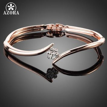AZORA Rose Gold Color Stellux Austrian Crystal Rose Elegant Bangle Bracelet TB0011