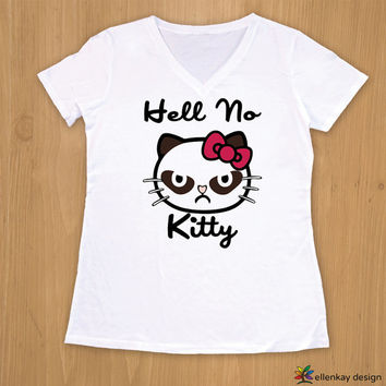 Hell No Kitty V-neck shirt