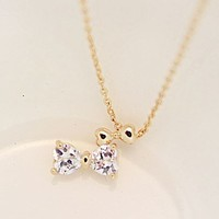 Bow on Bow Rhinestone Necklace
