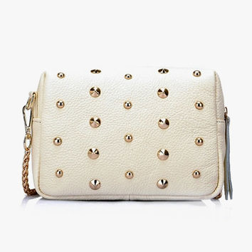 Casual Chic Studded White Little Purse. White Genuine Leather Bag Chain Sling Bag. Modern Small Clutch