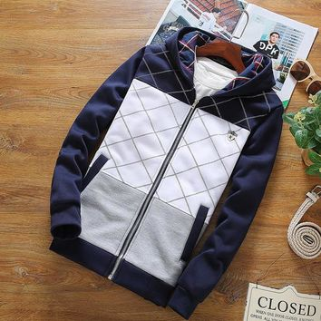 Mens Quilted Patterned Zip-Up Hoodie