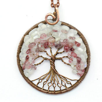 Tree-of-Life Pendant • Tree Life Necklace • Tree of life copper • Wire wrapped pendant • Tree of life jewelry • Gemstone pendant