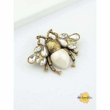 White Barn Bee Brooch