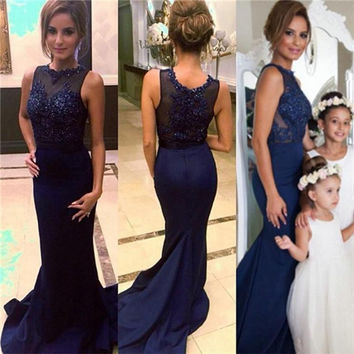 Navy Blue Lace Mermaid Bridesmaid Dresses 2016 Sheer Neck Applique Beaded Sequins Wedding Party Dress Prom Gowns B76