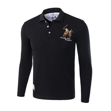 Mens Character Horse Embroidery Polo Shirt Turndown Collar Long Sleeve Casual Tee Tops