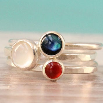 Stacking rings Red White and Blue Sterling silver Mother of pearl, abalone, carnelian, stackable set of 3, 4th of July, handmade ring stack