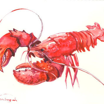 Red Lobster, original watercolor painting, sea animal art, kitchen art, 9 X 12 in wall art
