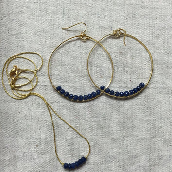 Necklace and Earring Set - Blue Jewelry Set - Necklace and Hoop Set
