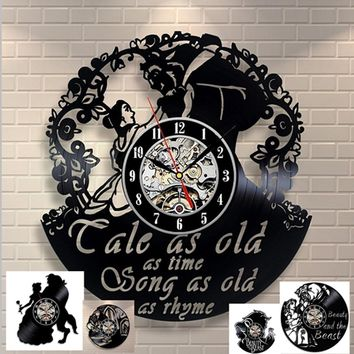 Beauty and The Beast Belle Love Story Vinyl Record Design Wall Clock - Decorate your home with Modern Art