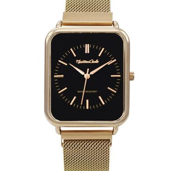 Montres Carlo Gold Stainless Steel Mesh Band Watch with Magnetic Strap