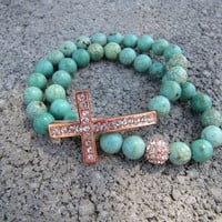 Turquoise Rose Gold Pave Crystal Sideways Cross Bracelets - Set of 2