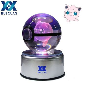 5CM Diameter 3D Crystal Ball LED Lamp For  Series Eevee/Gardevoir/Raichu Desktop Decoration Light Glass Ball HY-988Kawaii Pokemon go  AT_89_9
